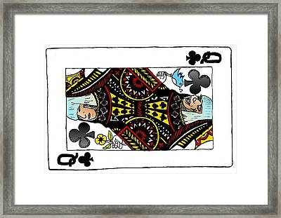 Lady Gaga Queen Of Clubs Poker Face Caricature Framed Print by Yasha Harari