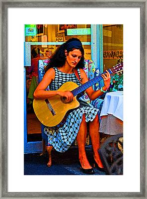 Lady Guitar Framed Print by Peter  McIntosh