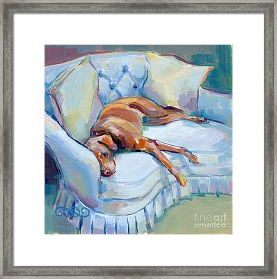 Lady In Blue Framed Print by Kimberly Santini