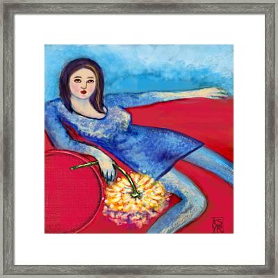 Lady In Blue Framed Print by Kimberly Van Rossum