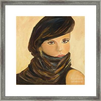 Lady In Brown Framed Print