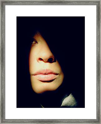 Lady In Darkness Framed Print by Guadalupe Nicole Barrionuevo