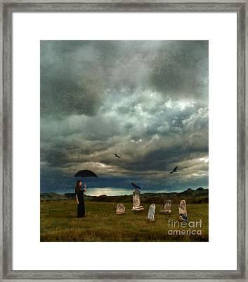 Lady In Graveyard Framed Print by Jill Battaglia