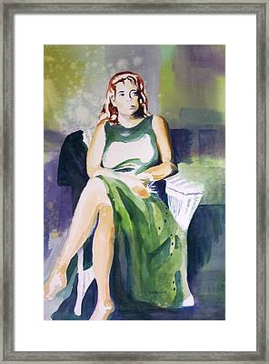 Framed Print featuring the painting Lady In Green by Richard Willows