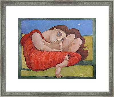 Lady In Red Framed Print by Erin Libby
