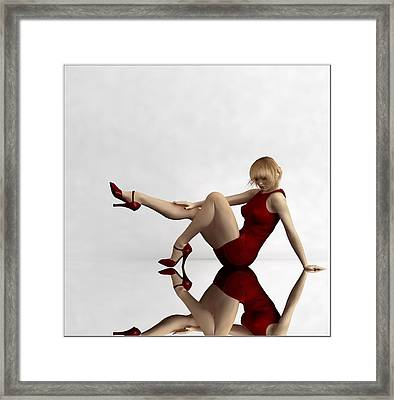 Lady In Red... Framed Print