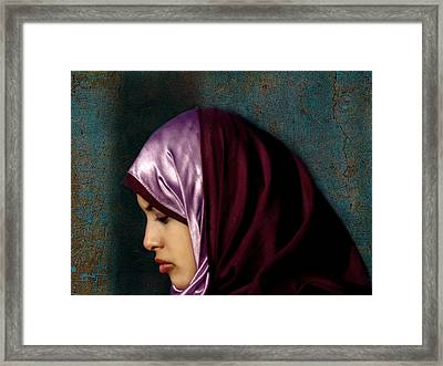 Lady In Red Version 2 Framed Print by Bjorn Borge-Lunde