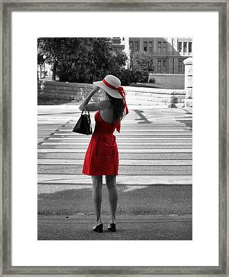 Lady In Red With Color Splash Framed Print