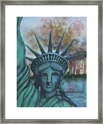 Framed Print featuring the painting Lady Liberty Cries by Pauline  Kretler