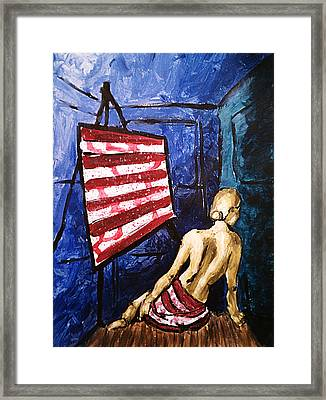 Lady Liberty Female Flag Figure Painting In Red Green Blue And Yellow Framed Print
