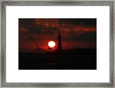 Lady Liberty Sunset Framed Print by Matthew Breslow