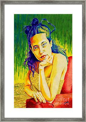 Lady N Colour Framed Print by Jose Miguel Barrionuevo