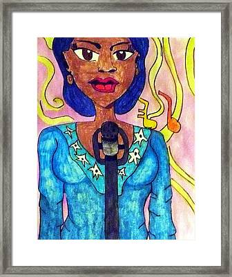 Lady Singer Framed Print by Artists With Autism Inc