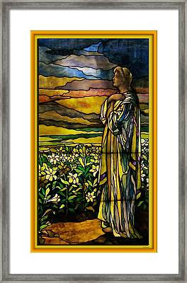Lady Stained Glass Window Framed Print by Thomas Woolworth