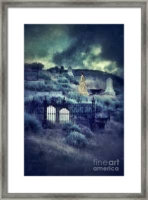 Lady Walking In Cemetery Framed Print by Jill Battaglia