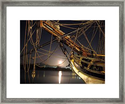 Lady Washington - Moonlight On Coos Bay Framed Print by Gary Rifkin