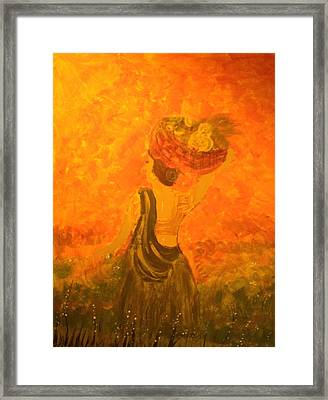 Lady With A Basket Framed Print by Brindha Naveen