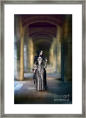 Lady With Bird Framed Print by Jill Battaglia