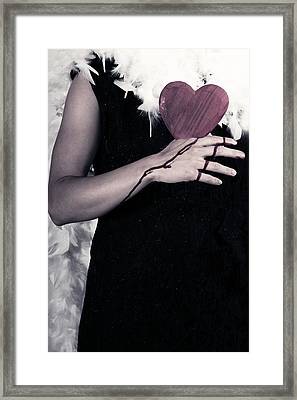 Lady With Blood And Heart Framed Print by Joana Kruse