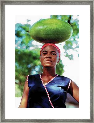 Lady With Calbace On Head Framed Print