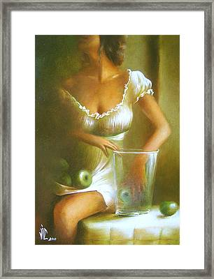 Lady With Green Apples Framed Print