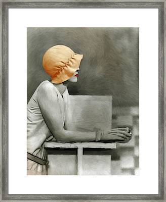 Lady With The Orange Hat Framed Print by Steve K