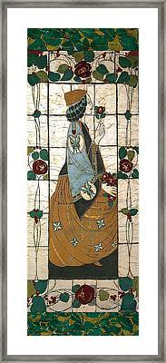 Lady With The Rose Framed Print