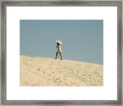Lady With Umbrella On Sand Dune Framed Print by Patricia Januszkiewicz