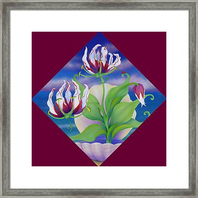 Ladybug And Lily Framed Print by Marcia  Perry
