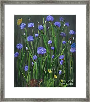 Framed Print featuring the painting Ladybug Lunch by Carol Sweetwood
