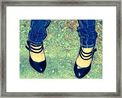 Lady's Feet-vintage Framed Print by Ester  Rogers