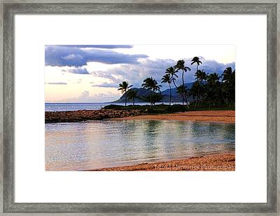 Lagoon Sunset Framed Print by Naomi Hayes
