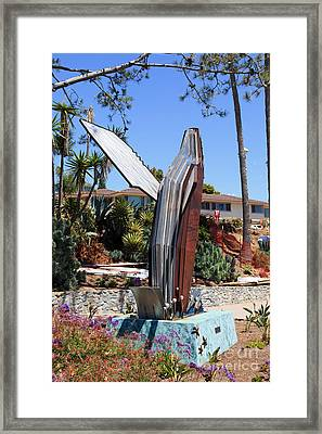 Laguna Beach Breached Whale Sculpture Framed Print