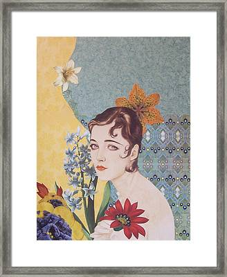 Laina Paper Collage Framed Print by Kanchan Mahon