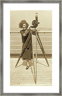 Lajinska With Vintage Movie Camera Framed Print by Padre Art