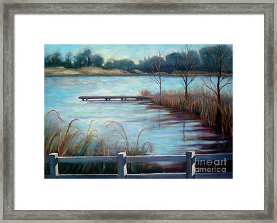 Framed Print featuring the painting Lake Acworth Dock by Gretchen Allen