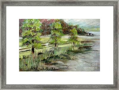 Framed Print featuring the pastel Lake Acworth Fisherman by Gretchen Allen