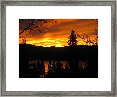 Lake Arrowhead Sunrise Framed Print by Diana Poe