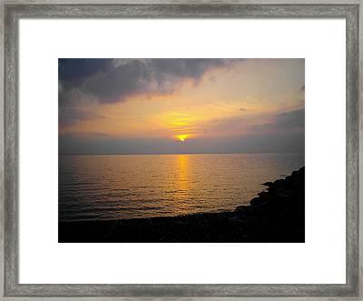 Lake At Sunset Framed Print by Christoffer Saar
