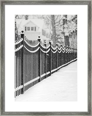 Lake Bluff Illinois, Iron Fence Covered With Snow Framed Print