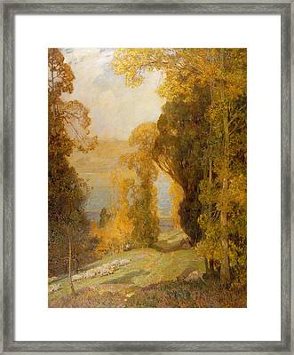 Lake Bourget From Mont Revard  Framed Print by Sir Alfred East