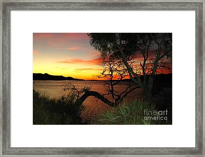 Framed Print featuring the photograph Lake Cachuma Evening by Johanne Peale
