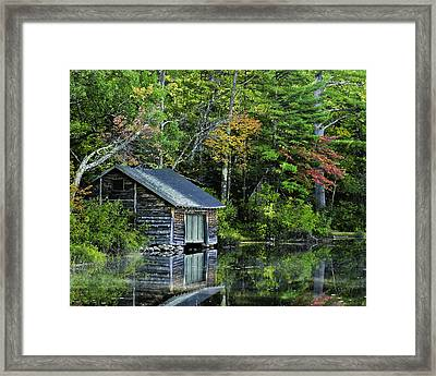 Framed Print featuring the photograph Lake Chocoura Boathouse by Betty Denise