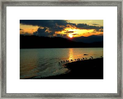 Framed Print featuring the photograph Lake Coeur D'alene Sunset Reflections by Cindy Wright
