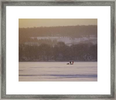 Lake Crossing  February 2010 Framed Print by Joseph Duba