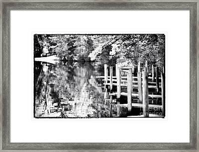 Lake Dock Framed Print by John Rizzuto