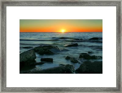 Lake Erie Sunset Framed Print by Cindy Haggerty