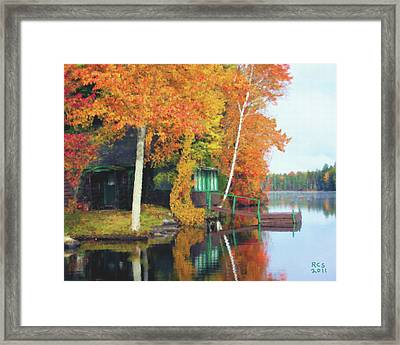 Lake Foliage Framed Print by Richard Stevens