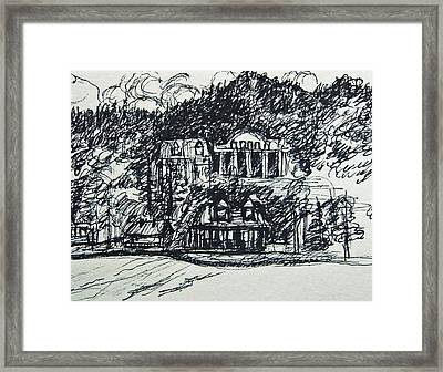 Lake George Shoreline Sketch Framed Print by Nancy Mitchell