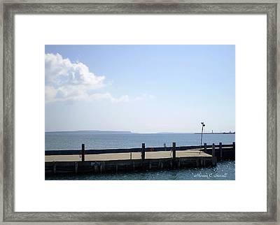 Lake Huron Harbor And Mackinaw Island View - Michigan Framed Print by Monica C Stovall
